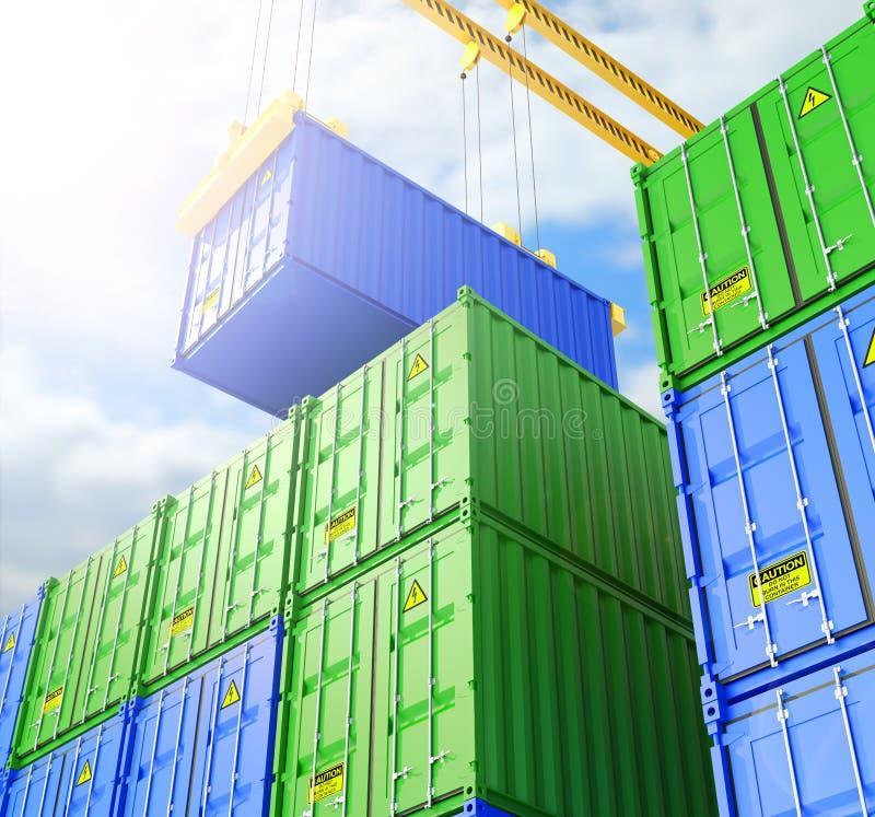 后勤进出口事务的工业容器围场 皇族释放例证