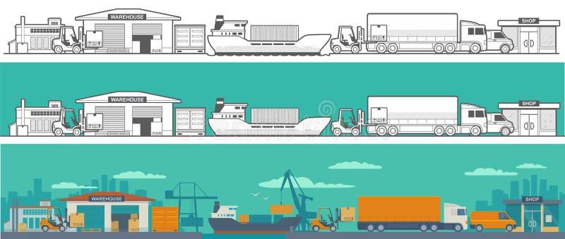 后勤-仓库,船,卡车,汽车 库存例证