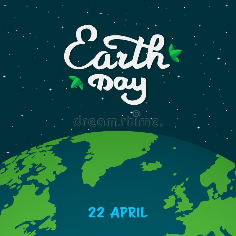 后土天动画片例证 接地在空间的行星与书法,与绿色叶子的手写的文本 库存例证