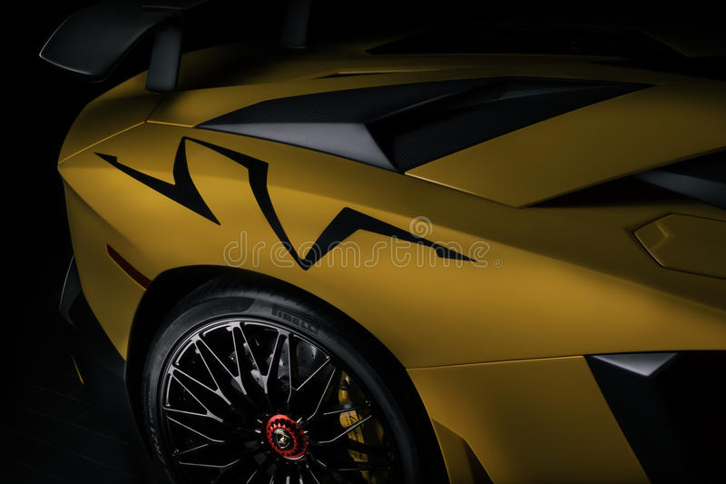 后方四分之一宽Aventador SV 库存图片