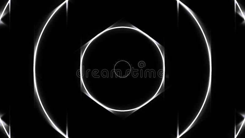后退在黑背景的不尽的隧道的发光的霓虹白色圈子框架 安卡拉 圆的狭窄 皇族释放例证