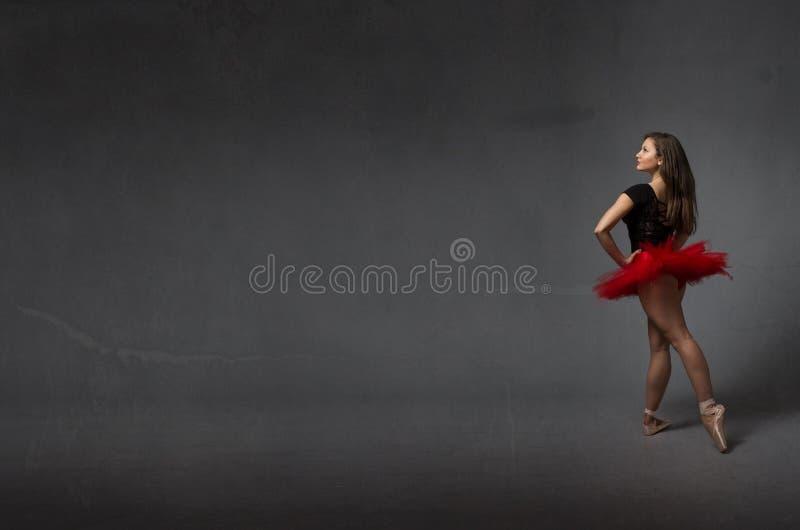 后部视图的芭蕾舞女演员 库存图片