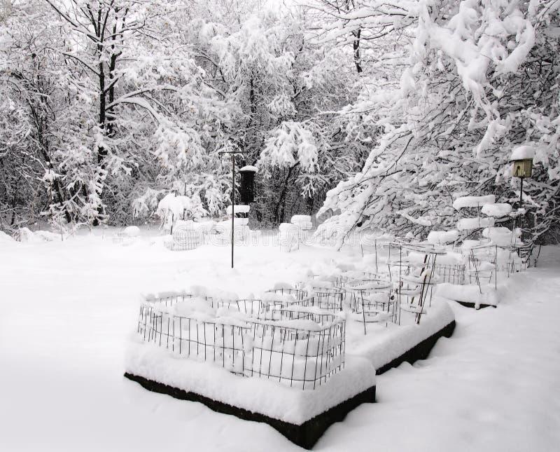 后院包括雪 免版税库存图片
