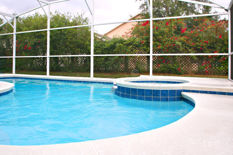 后院池游泳 免版税库存图片