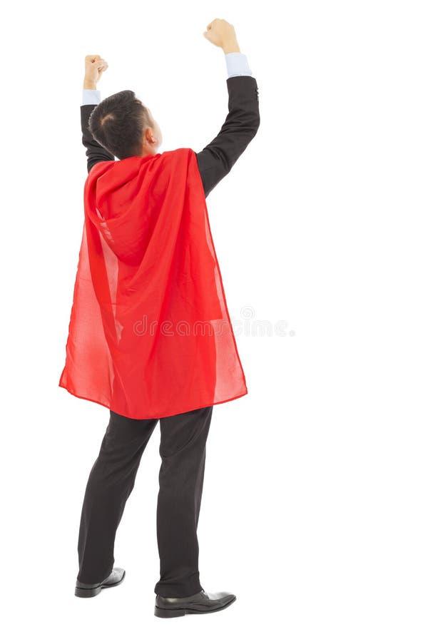后面与特级英雄红色萧伯纳的看法成功的商人 免版税库存照片