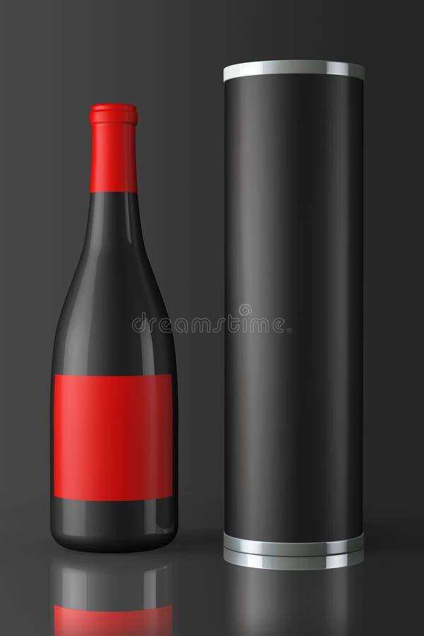 后面瓶与包裹的红葡萄酒 向量例证