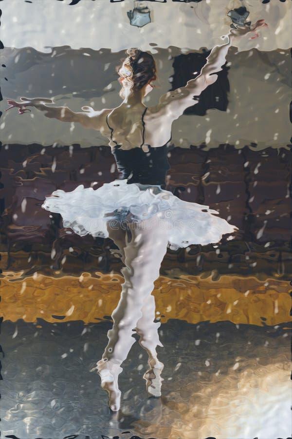 后面的单独芭蕾舞女演员景色 免版税图库摄影