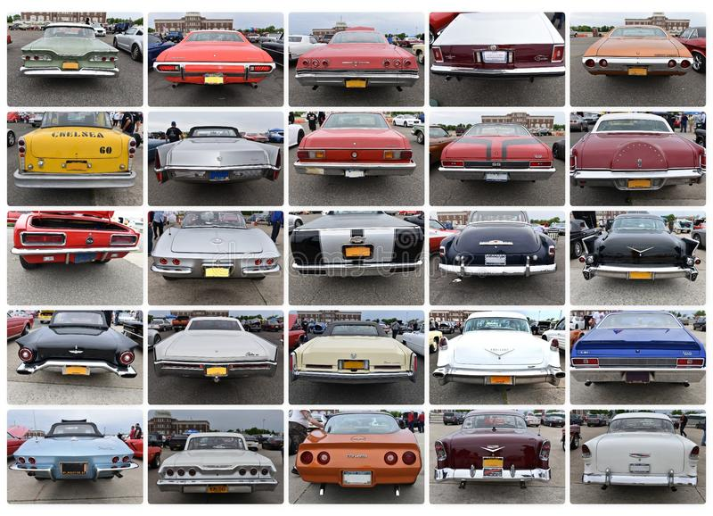 后面看法减速火箭的二十五辆汽车纽约展示 图库摄影