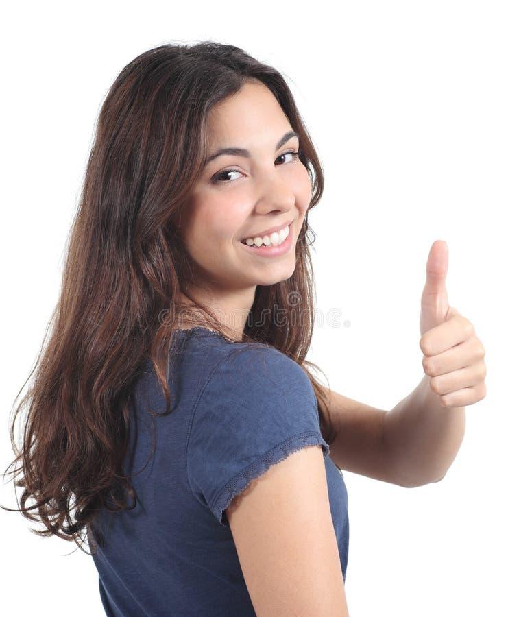 后面看法美丽青少年与赞许姿态 库存图片