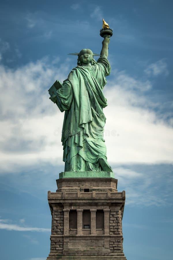 从后面看见的自由女神象 免版税图库摄影