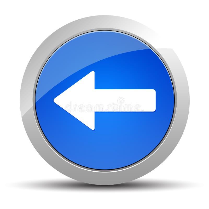 后面箭头象蓝色圆的按钮例证 库存例证