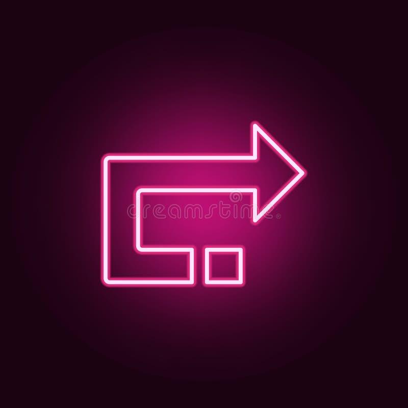 后面箭头象 网的元素在霓虹样式象的 网站的简单的象,网络设计,流动应用程序,信息图表 库存例证