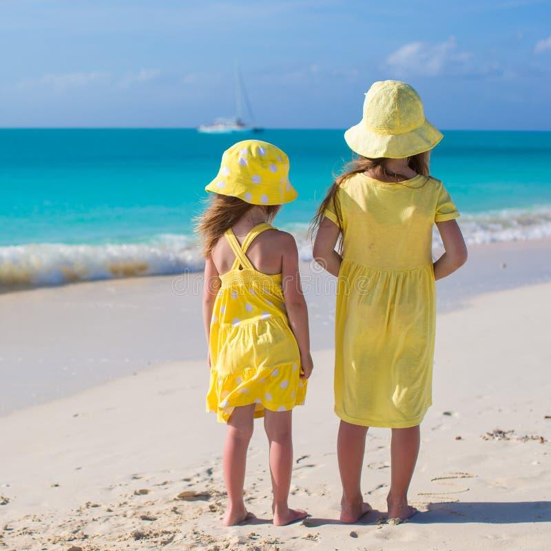 后面观点的两个可爱的小女孩 库存图片
