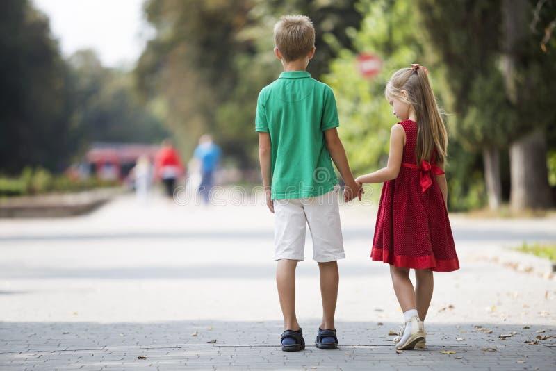 后面观点的两个逗人喜爱的年轻白肤金发的孩子、的女孩和男孩、走的兄弟和的姐妹握在被弄脏的明亮的晴朗的公园的手 图库摄影