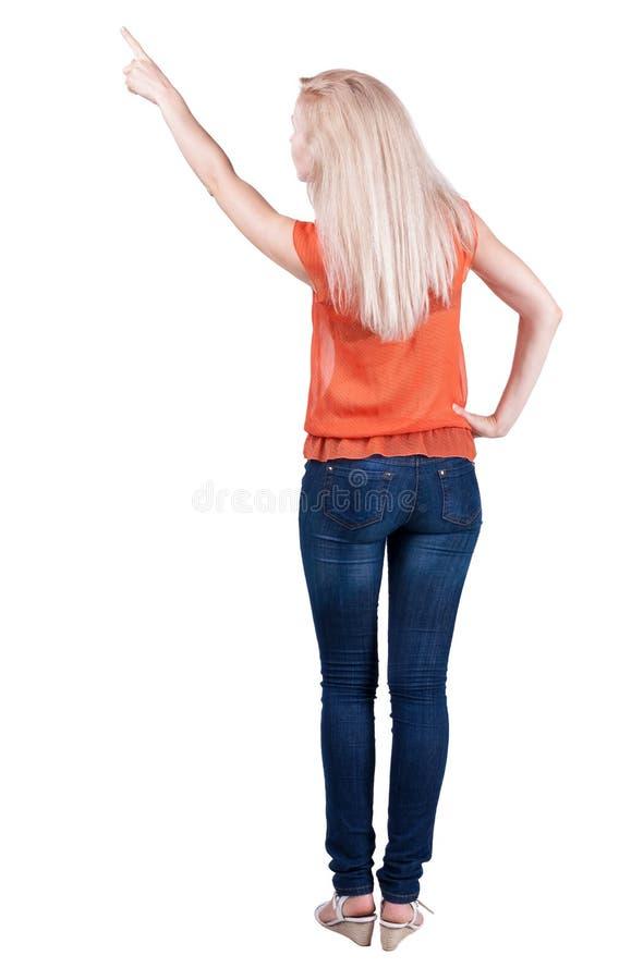 后面观点的出头的女人 美好的白肤金发的gir 图库摄影