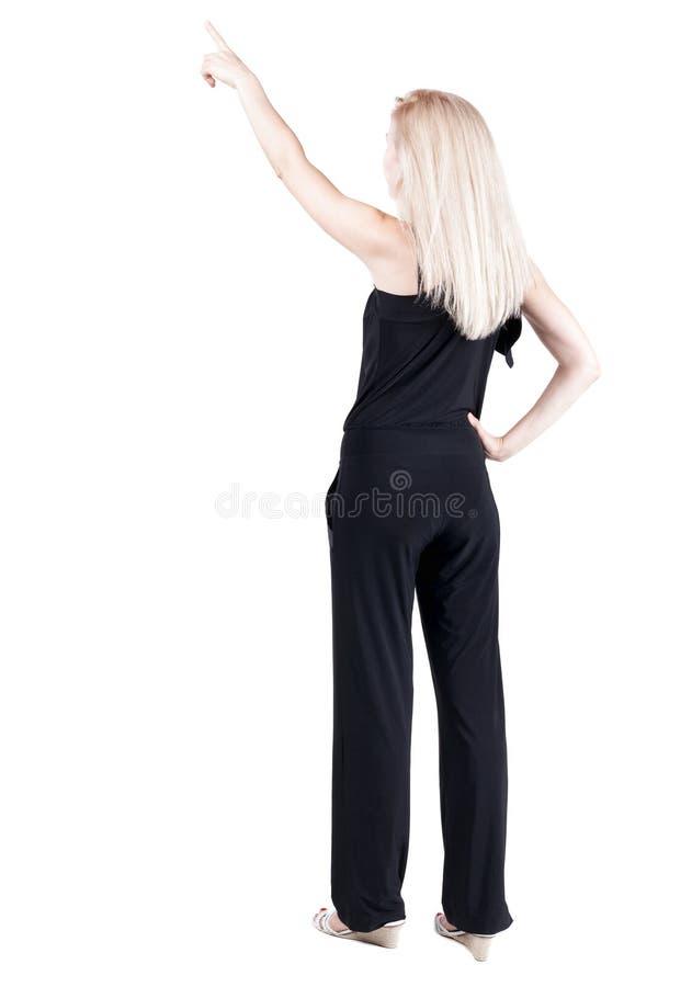 后面观点的出头的女人 美好的白肤金发的gir 库存图片