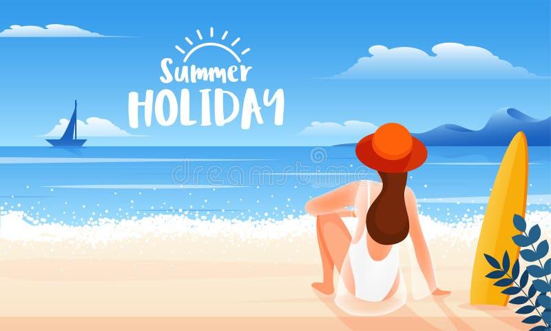后面观点的年轻女人坐海滩背景为愉快的夏天休假 向量例证