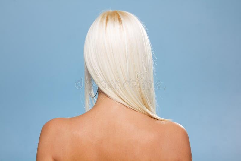 后面观点的有摆在演播室的长的头发的妇女 查出在蓝色 图库摄影