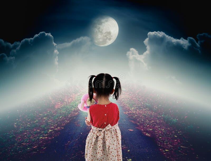 后面观点的有玩偶哀伤的姿态的孤独的孩子在路与 库存图片