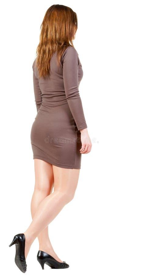 后面观点的棕色礼服的去的深色的女孩 库存照片