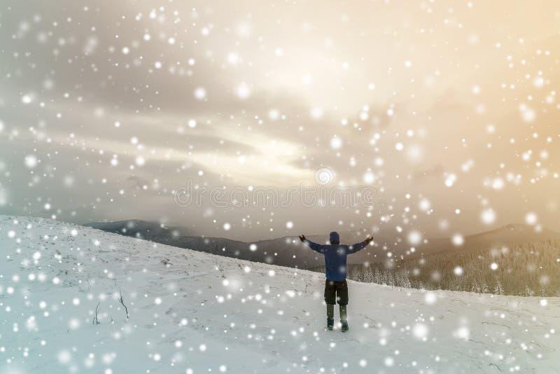 后面观点的温暖的衣物的旅游徒步旅行者有与被举的胳膊的背包身分的在用在云杉的森林的雪报道的清洁 免版税图库摄影