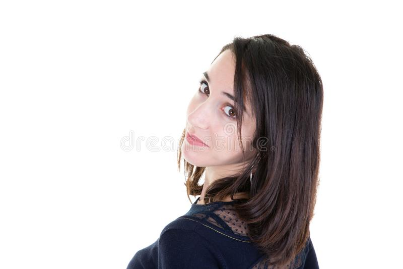 后面观点的黑衬衣和白色背景的愉快的妇女 免版税库存图片