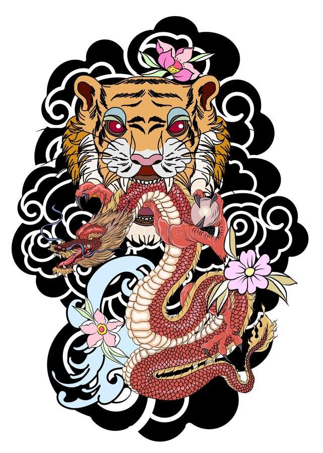 后面身体的传统日本纹身花刺设计 与老龙的老虎面孔在云彩背景 皇族释放例证