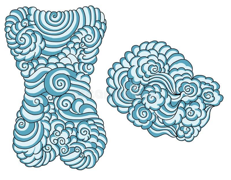 后面身体的手拉的中国云彩和水纹身花刺 库存例证