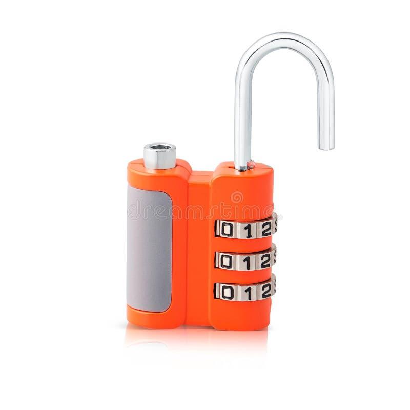 后3个数字号码锁样式和美好的橙色颜色 库存照片