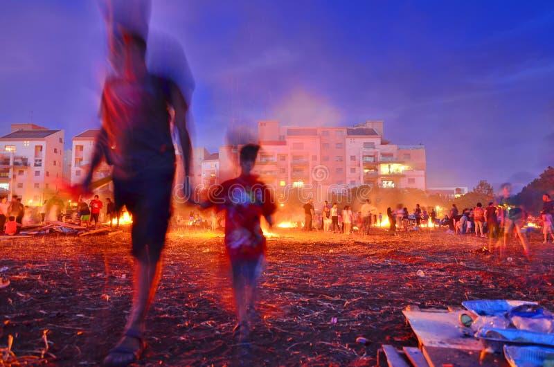滞后BaOmer篝火在以色列 库存图片