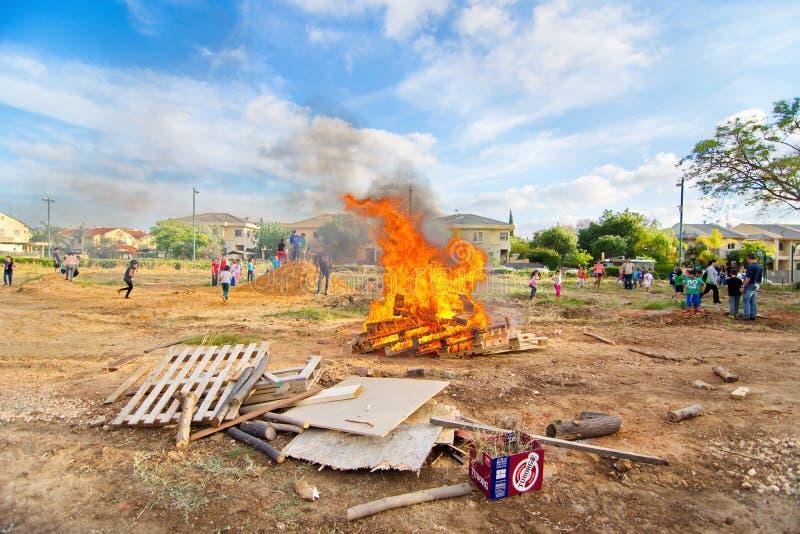 滞后BaOmer篝火在以色列 免版税库存照片