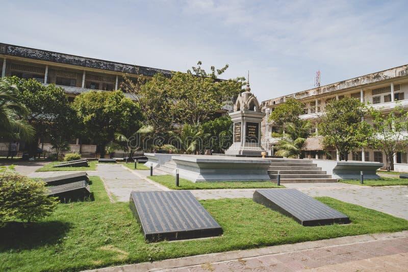 吐斯廉屠杀博物馆在金边,柬埔寨 库存图片