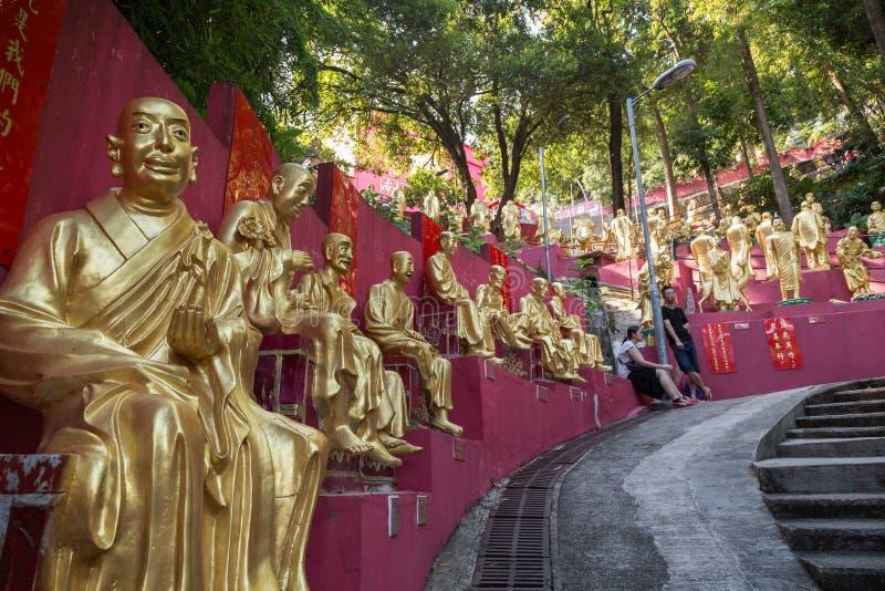 向万佛寺的道路在香港 免版税库存照片