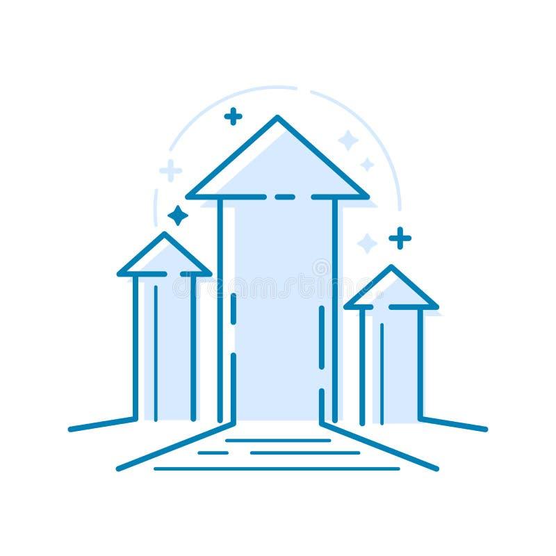 向上指向的箭头 稀薄的线成功的,奖,成就,顶面成功概念的元素设计观念 向量例证