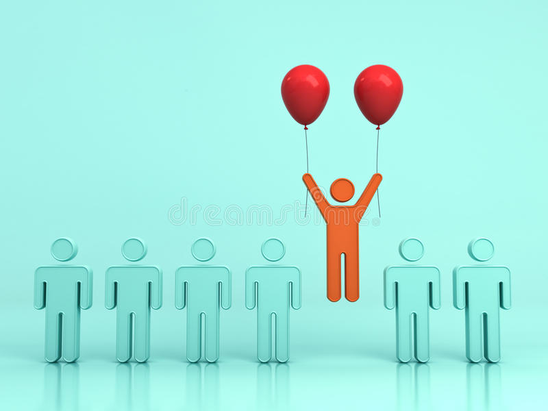向上飞行与两个红色气球的一个人从浅绿色的背景的绿色人 向量例证