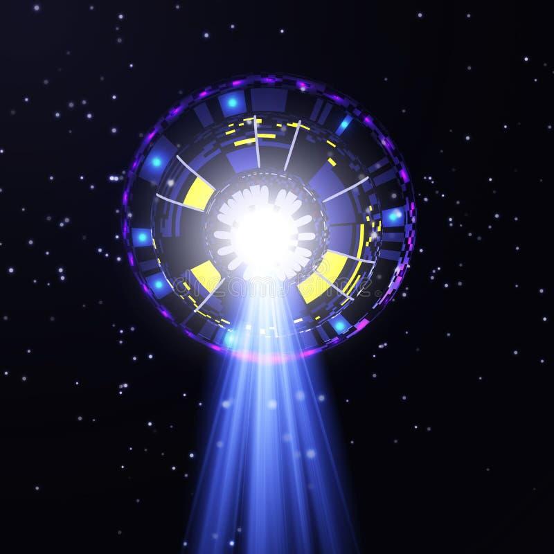 向下散发一条蓝色射线的飞碟 在天空的一个未认出的对象 向量例证