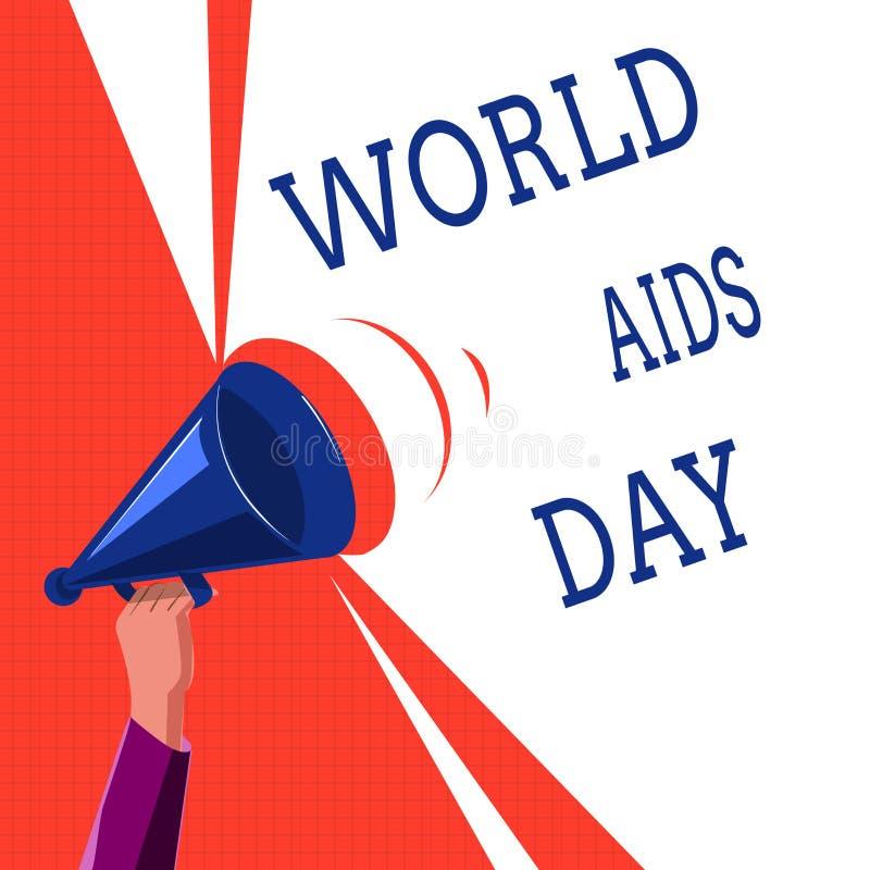 向世界显示的文字笔记援助天 陈列12月的1日企业照片致力了提高艾滋病的了悟 库存例证