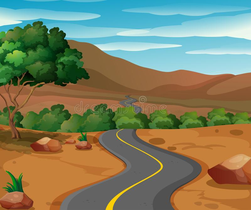 向乡下的曲线路 向量例证