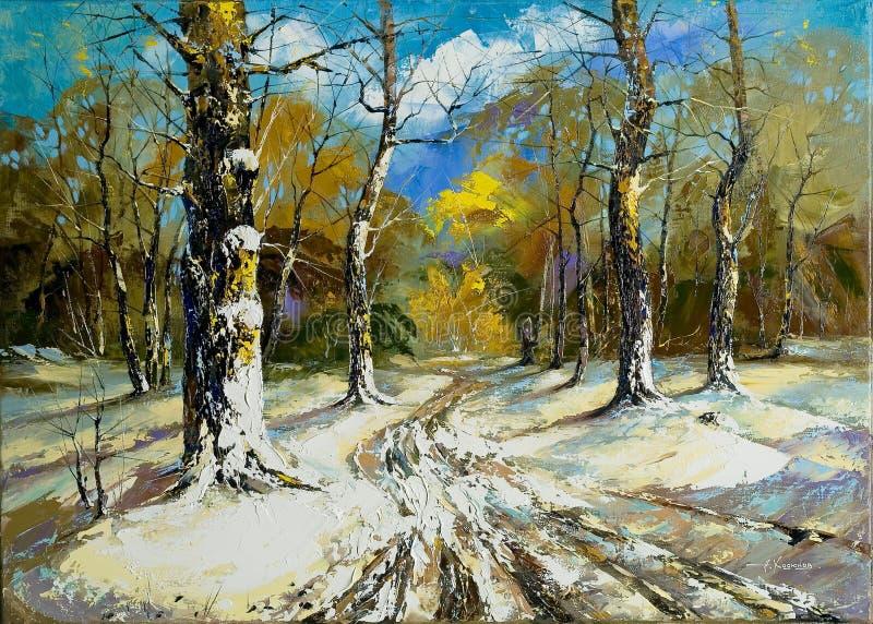 向冬天木头的路 免版税库存照片