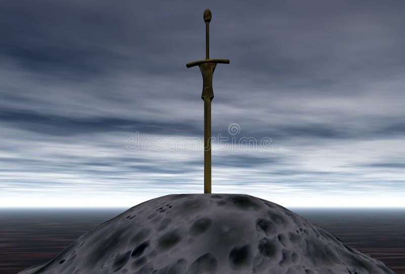 向剑扔石头 向量例证