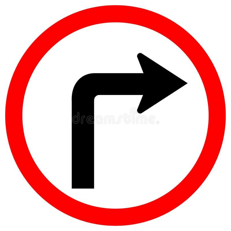 向右转交通在白色背景,传染媒介例证EPS的路标孤立 10 向量例证