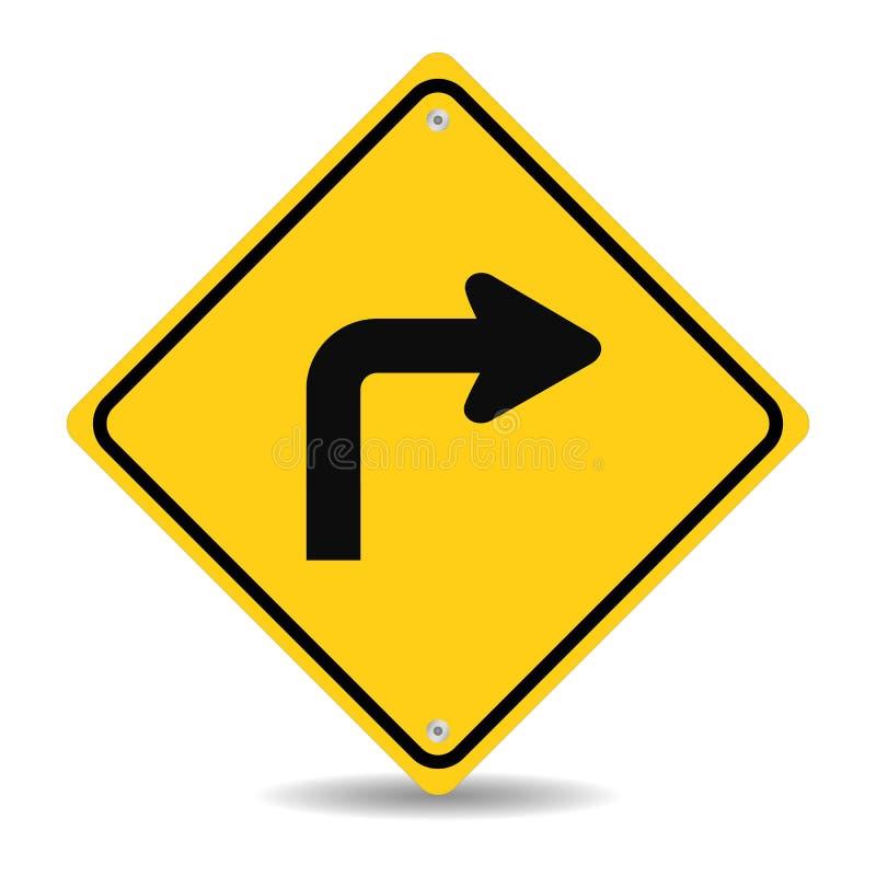向右转交通标志 库存例证