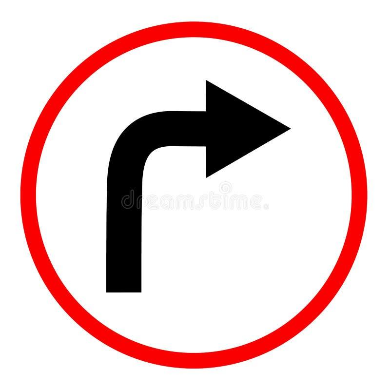 向右转在白色背景的标志 向右转符号 平的猪圈 库存例证