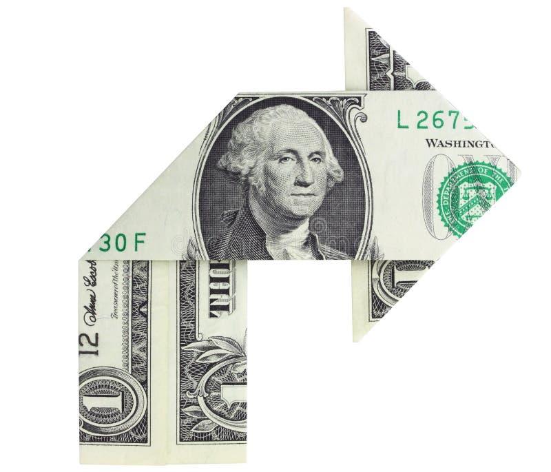 向右转票据的美元 免版税图库摄影
