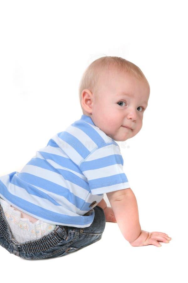 向后婴孩男孩查找 免版税图库摄影