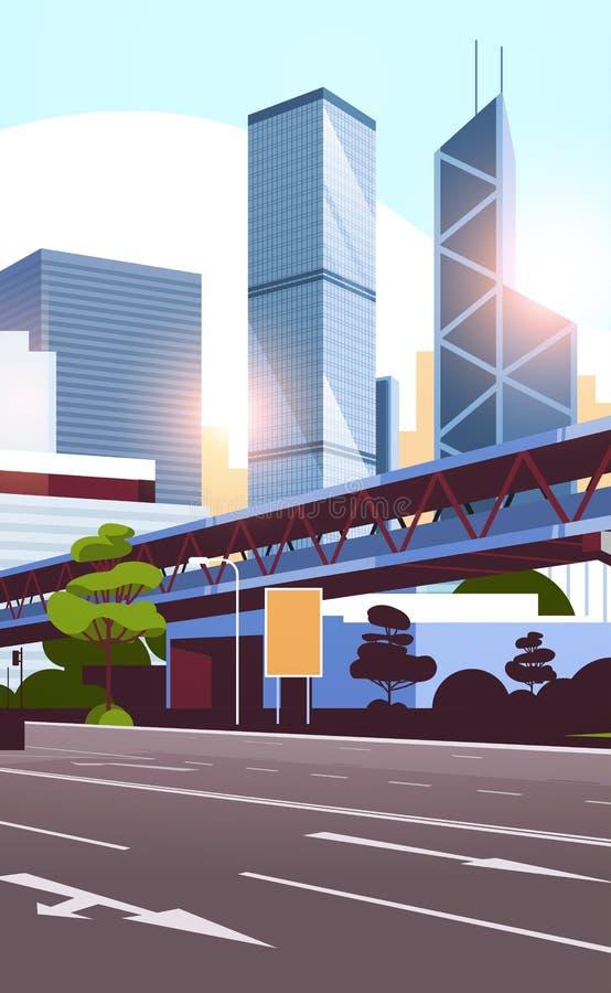 向城市地平线的高速公路路与现代摩天大楼和地铁都市风景平展垂直日落的背景 向量例证