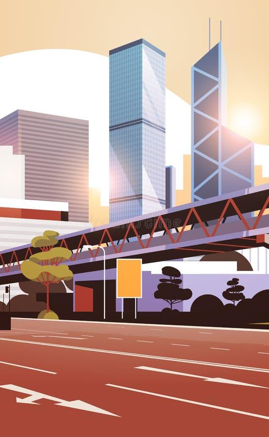 向城市地平线的高速公路路与现代摩天大楼和地铁都市风景平展垂直日落的背景 皇族释放例证