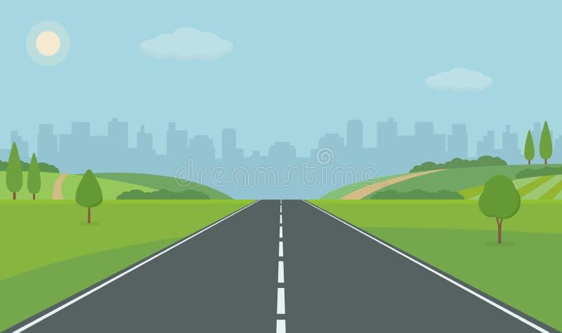 向城市的路 平直的空的路通过草甸 r 免版税库存图片