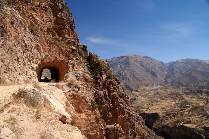 向峡谷Colca的路 免版税库存图片