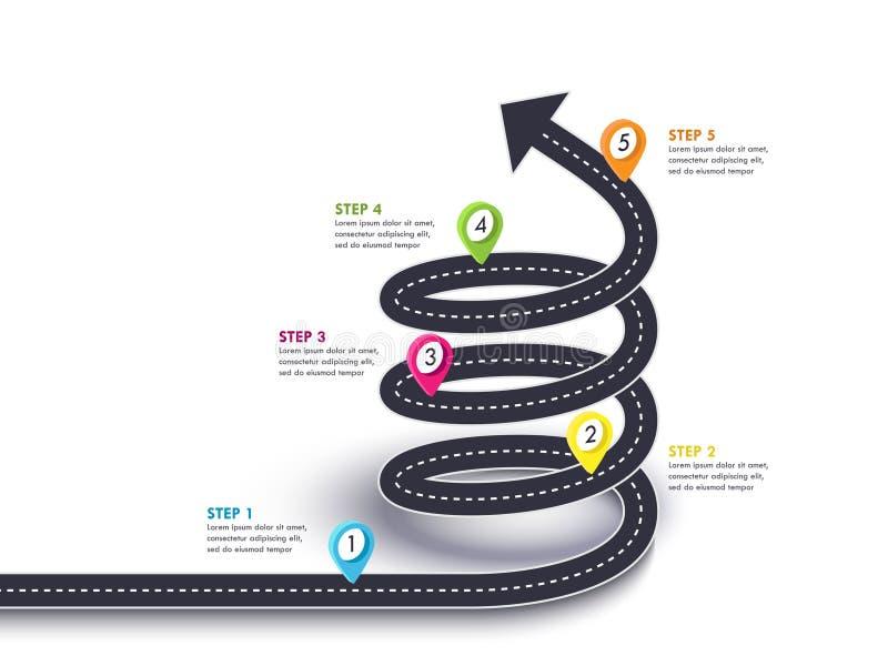 向成功的螺旋箭头路 旅行和旅途路线有别针尖的和地方您的数据的 皇族释放例证